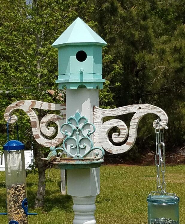 Upcycled Porch Post Bird Feeder Station