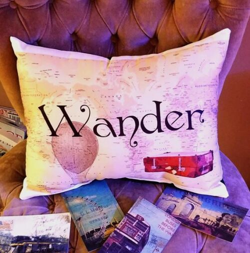 Vintage Map Inspired WANDER Travel Inspired Pillow, Old World Decor, Special Gift For Travelers, Travel Enthusiasts