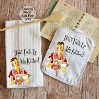 Retro Don't Fuck Up My Kitchen Towel Dish Cloth and Pot Holder Gift Set, Retro Vintage Kitchen Decor, Housewarming Gift, Can Be Personalized