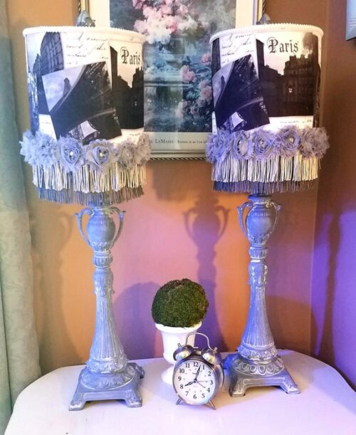 Gray Paris Table Lamps, Gorgeous Pair of Ornate French Lamps w/ Shades Featuring Paris France Photos w/ Fringe & Rosettes, One Of A Kind SET